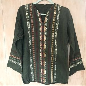Vintage Embroidered Poncho Pullover